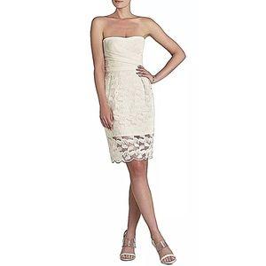 BCBGMAXAZRIA Adrianna Floral Lace Ecru Dress EUC